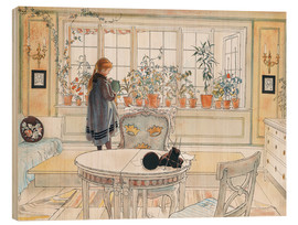 Wood print  Flowers on the windowsill - Carl Larsson