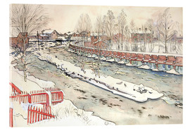 Acrylic print  The Timber Chute, Winter Scene - Carl Larsson