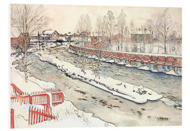 Foam board print  The Timber Chute, Winter Scene - Carl Larsson