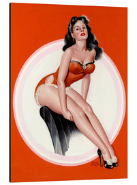 Aluminium print  Brunette in Red Bathing Suit - Peter Driben
