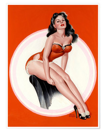 Poster  Brunette in Red Bathing Suit - Peter Driben