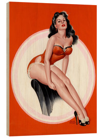 Wood print  Brunette in Red Bathing Suit - Peter Driben