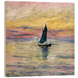 Wood print  Sailboat evening - Claude Monet