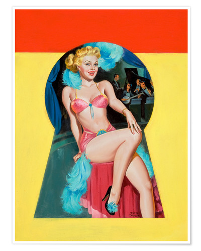 Premium poster Pin Up Sitting in the Keyhole