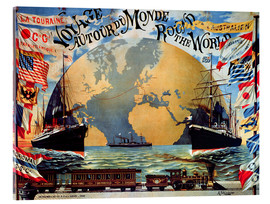 Acrylic glass  'Voyage Around the World', poster for the 'Compagnie Generale Transatlantique', late 19th century - Jakob Emil Schindler