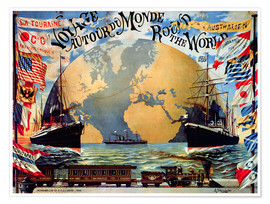 Poster 'Voyage Around the World', poster for the 'Compagnie Generale Transatlantique', late 19th century