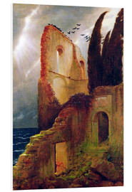 Foam board print  Ruin by the Sea - Arnold Böcklin
