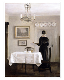 Premium poster Interior with Lady Carrying Tray