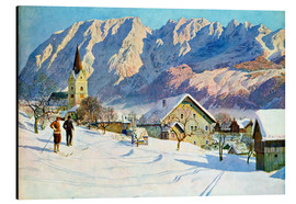 Aluminium print  Mitter village in Austria, watercolor - Gustave Jahn