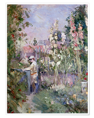 Premium poster Young Boy in the Hollyhocks
