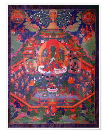 Premium poster  Thangka depicting Green Tara - Tibetan School