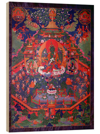 Wood print  Thangka depicting Green Tara - Tibetan School