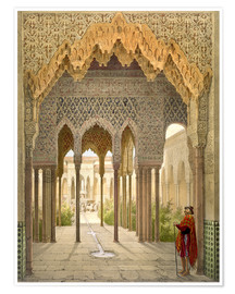 Premium poster  The Court of the Lions, the Alhambra, Granada, 1853 - Léon Auguste Asselineau