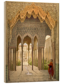 Wood print  The Court of the Lions, the Alhambra, Granada, 1853 - Léon Auguste Asselineau