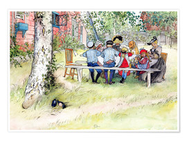 Poster  Breakfast under the Big Birch - Carl Larsson