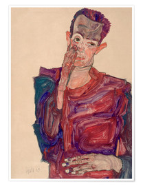 Premium poster Egon Schiele pulled eyelid down