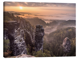 Canvas  Sunrise in the Saxon Switzerland - Andreas Wonisch