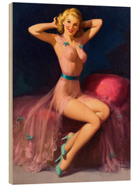 Wood print  Pin Up in Pink - Art Frahm