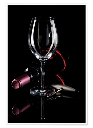 Premium poster Wine, glass and corkscrew III
