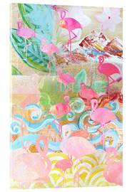 Acrylic print  Flamingo Collage - GreenNest