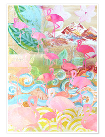 Premium poster  Flamingo Collage - GreenNest