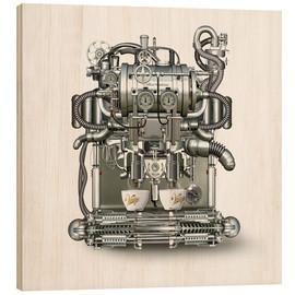 Wood print  Coffee Machine - diuno