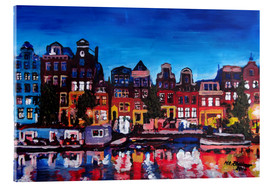 Acrylic glass  Amsterdam Channel at Night - M. Bleichner