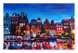 Poster  Amsterdam Channel at Night - M. Bleichner