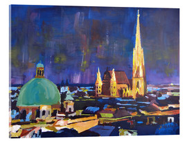 Acrylic glass  Vienna Skyline at Night with St Stephan - M. Bleichner
