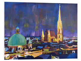 Foam board print  Vienna Skyline at Night with St Stephan - M. Bleichner