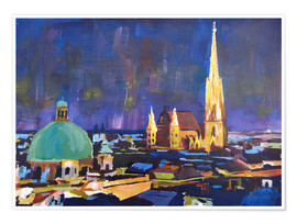 Premium poster  Vienna Skyline at Night with St Stephan - M. Bleichner