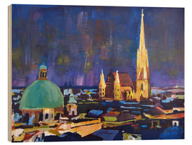 Wood print  Vienna Skyline at Night with St Stephan - M. Bleichner