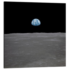 Aluminium print  Apollo 11 - rising of the earth above the moon