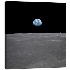 Canvas print  Apollo 11 - rising of the earth above the moon