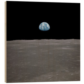 Wood print  Apollo 11 - rising of the earth above the moon