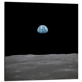 Aluminium print  Apollo 11 rise of the earth above the moon,  July 1969