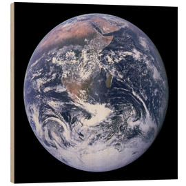 Wood print  Earth view from Apollo 17 moon mission