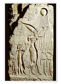 Premium poster  Pharaoh Akhenaten pays homage to the sun god Aten