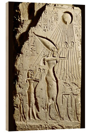 Wood  Pharaoh Akhenaten pays homage to the sun god Aten