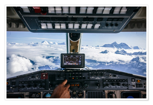 Premium poster Airplane cockpit - Flying over mountain peaks in Himalaya