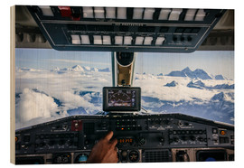 Wood print  Airplane cockpit - Flying over mountain peaks in Himalaya - Alejandro Moreno de Carlos
