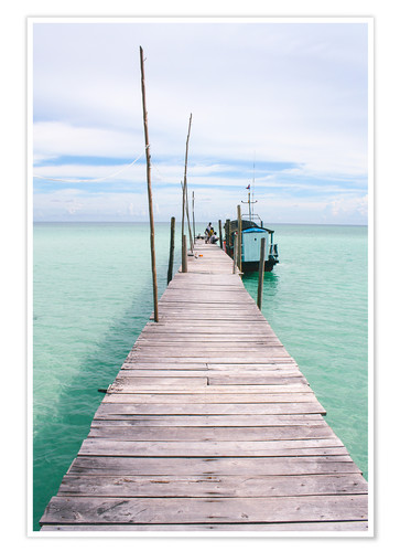 Premium poster Wooden jetty on tropical exotic island