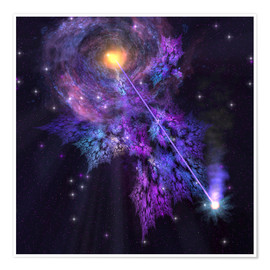 Premium poster A shooting star radiates out from a black hole in the center of a galaxy.
