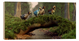 Wood print  Dodos cross a stream - Daniel Eskridge