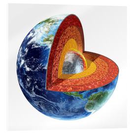 Acrylic print  Section of the planet Earth with inner core - Leonello Calvetti