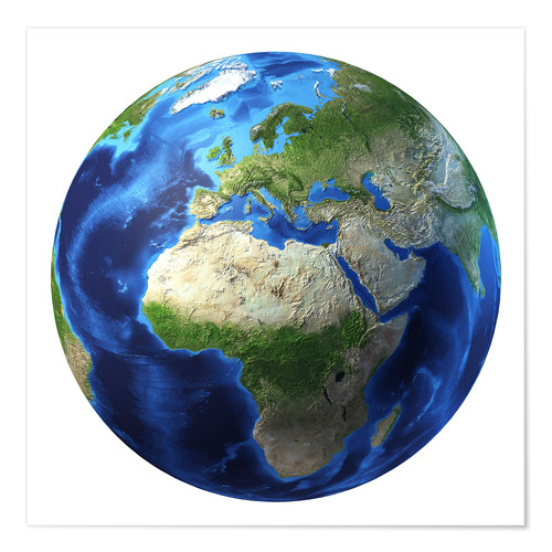 Premium poster Africa and Europe on 3D Earth