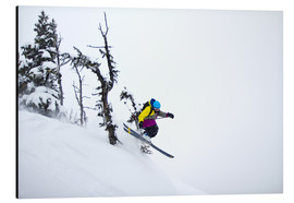 Aluminium print  Freeride ski - Skier jumping in the backcountry - Alejandro Moreno de Carlos