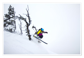 Premium poster  Freeride ski - Skier jumping in the backcountry - Alejandro Moreno de Carlos