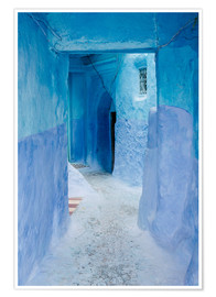 Premium poster Blue walls and door in medina in Chefchaouen, Morocco