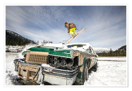Poster Ski freestyle. Skier jump over vintage car